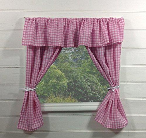 Vorhänge für Kinderspielhaus ~ Vichy-Karo in rosa mit Querbehang - inklusive Befestigungsmaterial ~ Spielhaus/Sommerhaus