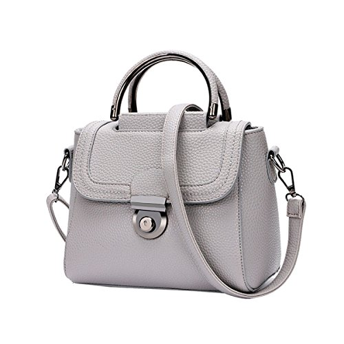 QPALZM Ms Impermeabile Fashion Litchi Semplice Mini Spalla Portatile Borsa Messenger Bag 28.21 Once (oz) Gray