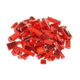 100 x Lego Dachsteine rot Schräg Bau Steine Dachziegel Form und Größe zufällig gemischt