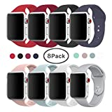 Tervoka Für Apple Watch Armband 42mm(44mm Series 4), Weiche Silikon Ersatz Armbänder für Apple Watch Armband 42mm 44mm Series 4/3/2/1, Sport, Edition, M/L, 8 Packs