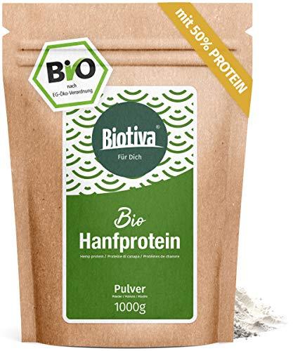 0% (Bio, 1kg) - 1000g Bio Hanfproteinpulver - vegan - 50% Proteingehalt - Frei von Gluten, Soja und Laktose - Abgefüllt und kontrolliert in Deutschland (DE-ÖKO-005) ()