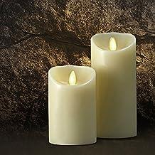Saint Mossi® Vaniglia profumata LED senza fiamma reale paraffina, cera della candela della colonna con telecomando e di controllo del timer automatico - Dia3.5