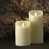 Saint Mossi® Vanille Duft LED Flameless Real Paraffin Wachs Säule Kerze mit Fernbedienung und Auto Timer Kontrolle - Dia 3,5'x 5' & 7'Geschenk Set