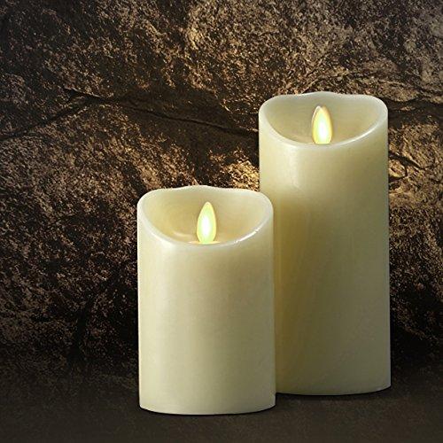 """Saint Mossi® LED al profumo di vaniglia senza fiamma reale Cera di paraffina candela pilastro con telecomando e timer automatico controllo, Dia 3.5"""" x Height 5"""" 3.00 volts"""