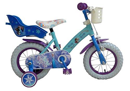 bicicleta niña 3 4 4,5 años Disney Frozen de 12 pulgadas ruedas extraíbles la cesta y portabambole azul
