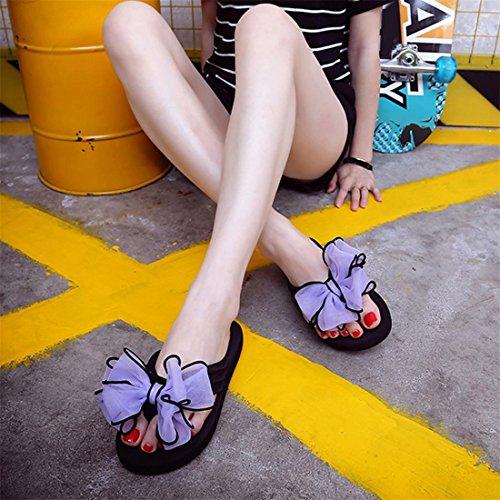 Malloom® Sandalen, Sommer Frauen Strand Schuhe Blume flache Sandalen Slip Resistant Schmetterling-Knoten Sandale Lila