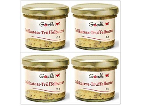 4 x Feinkost Gourmet Trüffelbutter Vorratspack von Göschle mit 15 {62eef111aabc11382fbc3aa640eaa83ba92fe7de288c35f8787fad0ee14f2d65} schwarzer frische Trüffel für Pasta Risotto 360 g