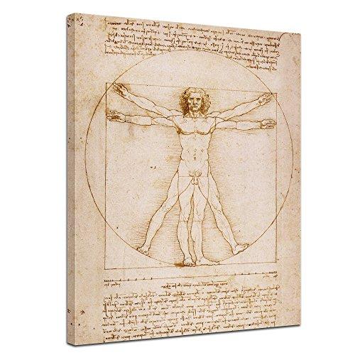 Bilderdepot24 Kunstdruck - Alte Meister - Leonardo da Vinci - Vitruvianischer Mensch - 60x80cm einteilig - Leinwandbilder - Bild auf Leinwand