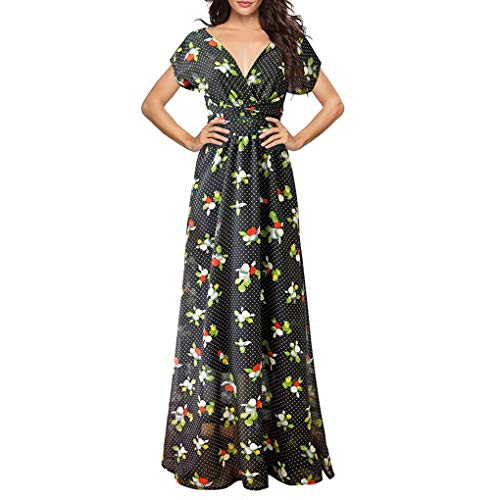 SANNYSIS Kleider Damen V-Ausschnitt Rückenfrei Neckholder Abendkleider Elegant Cocktailkleid Multi-Way Maxikleid Lang Blumen Party Kleid Sommerkleid Strandkleider (L, Grün)