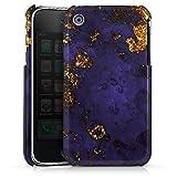DeinDesign Apple iPhone 3Gs Coque Étui Housse Marbre Bleu et doré