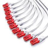 CSL – 10 x 0,25m - Cat 6 Netzwerkkabel Flach | Gigabit Ethernet LAN | RJ45 Kabel / Flachbandkabel / Verlegekabel | 10/100/1000 Mbit/s | Patchkabel / Flachkabel | Kompatibel zu Cat.5 / Cat.5e / Cat.6 | weiß