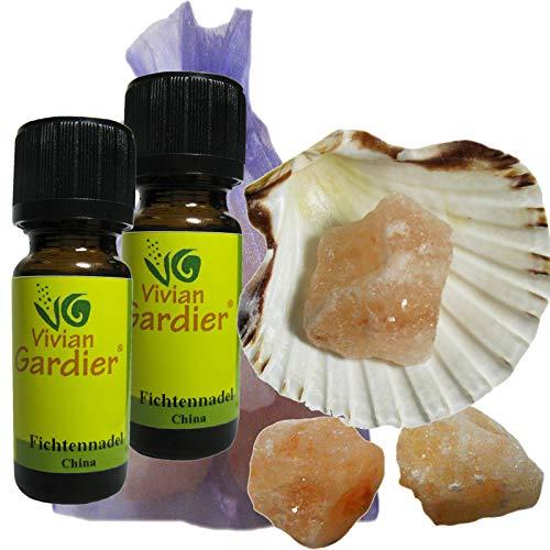 Fichtennadel Öl ätherisch + NATURREIN 2 x 10ml von VIVIAN GARDIER, kontrollierter Anbau #50014 | 7-teiliges Aromatherapie Duft-Set mit Muschel, 3 x Sole-Kristalle zum Wiederbeduften, Duftsäckchen. -