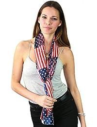 Foulard versatile en mousseline aux couleurs du drapeau Américain. Produit offert par NYfashion101.