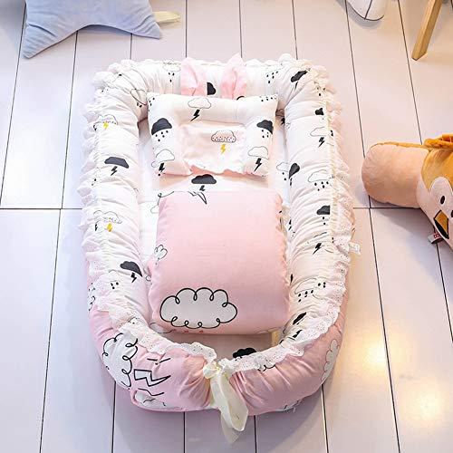 AP.DISHU Baby Nest/Bassinet/Lounger für Bett, bewegliches Baby Bassinet Cribs, 100{4fccf955d49bd0f068f200dbdbf1e7e40a0cad35476ea7ecd21a4abc1c6bf404} Baumwolle atmungsaktiv hypoallergen, für Schlafzimmer und Reisen,A