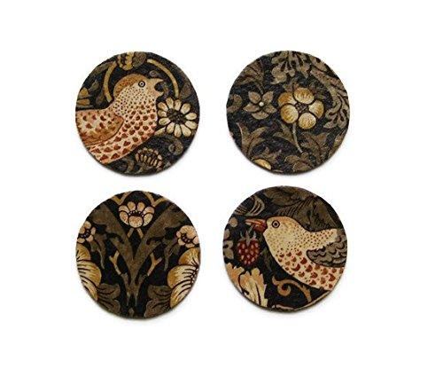 William Morris Erdbeerdieb Kunst und Handwerk Dark Purple, Gold Stoff personalisierbar Découpage-Set von vier Untersetzer Kork Getränke Mats.