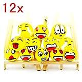 JZK 12 x Pelota antiestrés suave blandito pelota bouncy pelota Emoji emoticonos juguete para niños y adultos favores fiesta cumpleaños rellenos bolsas fiesta suministros fiesta decoración