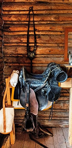 Türposter 76x200cm SATTEL Türaufkleber Möbelfolie Reiten Western Sport Pferd 965tp (Pferd Sättel Western)