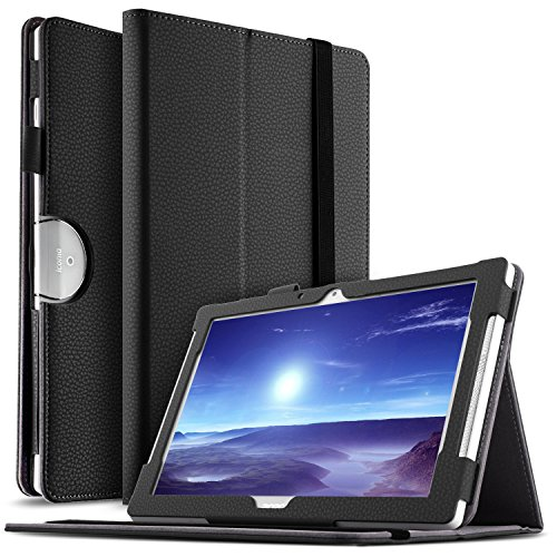 IVSO Acer Iconia Tab 10 (A3-A50) Hülle, Leder Tasche Schutzhülle mit Standfunktion für Acer Iconia Tab 10 A3-A50 2017 Tablet PC(10,1 Zoll), Schwarz