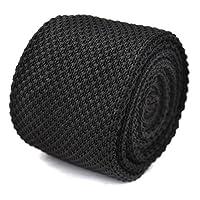 Frederick Thomas plain black knitted tie
