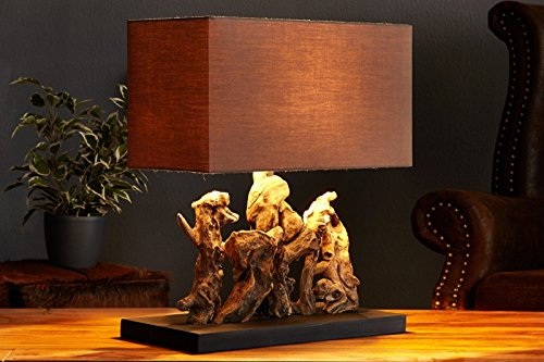 Design Treibholzlampe ARAGON mit rechteckigem braunen Schirm Handarbeit -