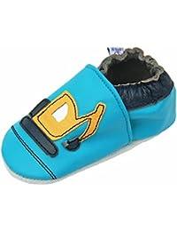 Lappa.de - Zapatillas de piel para niños (suela de ante, tallas de la 19 a la 31), diseño de camión y excavadora, color turquesa y amarillo