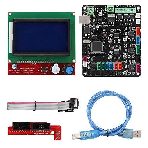 ASHATA Motherboard-Kit, hochwertige 2-Lagen-Platine, dedizierter Power-Chip, 3D-Druckerzubehör Motherboard-Kit MKS Base V1.6 + 12864 LCD-kompatible Mega2560-Rampen1.4 (Pc Build-tool-kit)