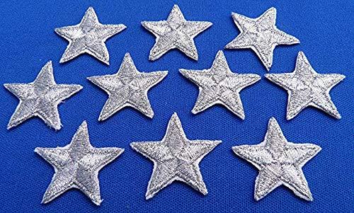 Packung mit 10 Silber Aufbügeln oder nähen-auf-Sterne-Patch