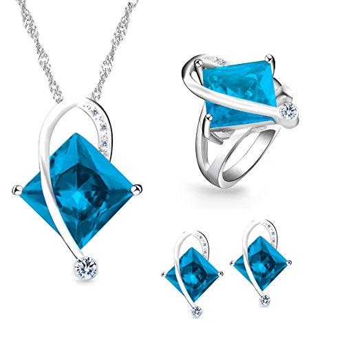 Uloveido Female Large Square Blue Kristall Halskette Charm Choker Halskette Post Ohrstecker Ringe Brautjungfer Schmuck Set für Frauen (Blau, Größe 59) T295 -