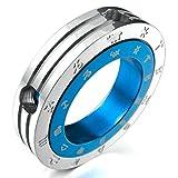 Adisaer Acier Inoxydable Homme Collier Pendentif - Zodiac Couple Rings Poli Argent Bleu