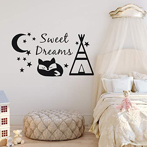 jiuyaomai Sweet Dreams Wandtattoo Tipi und Fuchs Wandaufkleber DIY Muster Kinderzimmer Dekor Mond und Sterne Design Vinyl Wandbilder A weiß 107x57cm (Baby-dusche Mond Und Sterne Design)