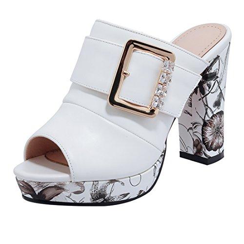 YE Frauen öffnen Zehe Thong Flache Perlen T-Strap Strand Riemchen Sandalen mit Schleife Flip Flops Schuhe (39EU, Weiß)