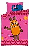 Aminata Kids Kinder-Bettwäsche Sendung mit der Maus 100x135 cm Rosa Pink Süss-e Elefant Ente Baumwolle Reissverschluss Lizenz