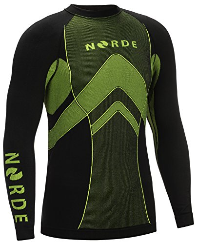 THERMOTECH NORDE Herren Funktionswäsche Thermoaktiv Atmungsaktiv Base Layer SET Outdoor Radsport Running (Schwarz/Grau, XXL) - 4