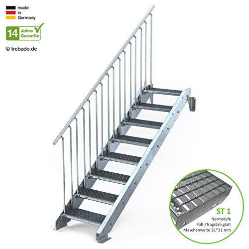 Außentreppe 8 Stufen 60 cm Laufbreite - einseitiges Geländer links - Anstellhöhe variabel von 150 cm bis 180 cm- Gitterroststufe ST1 - feuerverzinkte Stahltreppe mit 600 mm Stufenlänge als montagefertiger Bausatz
