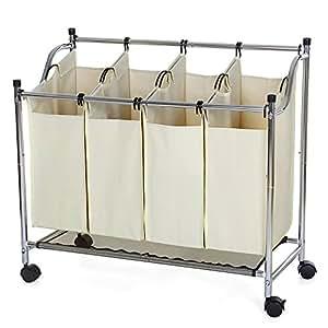 songmics chrome chariot linge en cadre m tal avec 4 sacs et 4 roulettes porte v tement pour. Black Bedroom Furniture Sets. Home Design Ideas
