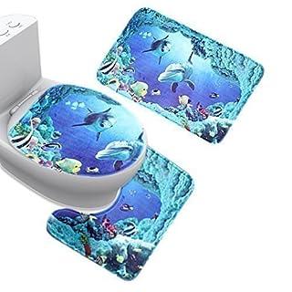 aoxintek Blue Sea Thema Dolphin Shark Badematten Set 3pc Badezimmer Teppich Ständer Deckel Matte WC-Bezug-Set