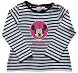 Original Disney Minnie Mouse T-Shirt Top for Kid's Girl's Sizes 2-24 Months Full Sleeves White Navy Blue
