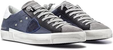Philippe Model Scarpe Uomo Sneakers Paris PRLU XW02 West Blue Pelle Blu