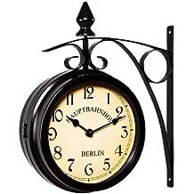 fa2fb0c971ec Deuba Reloj de Pared Estación de Tren Negro Estilo Vintage Doble Esfera -  Hierro Forjado para