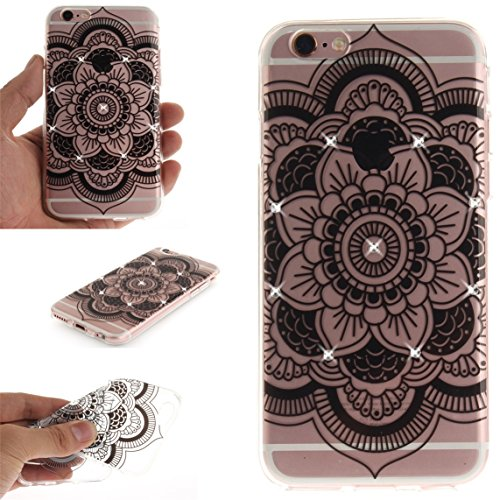 iPhone 6S Hülle, Voguecase Bling Silikon Schutzhülle / Case / Cover / Hülle / TPU + PC Gel Skin für Apple iPhone 6/6S 4.7(Diamant-Durchstochen 03/Schwarz) + Gratis Universal Eingabestift Diamant-Lace Teppich/Schwarz
