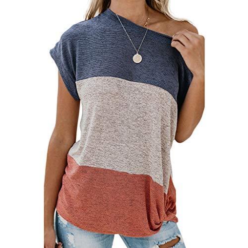 Stretch Lace Tee (Damen T-Shirt Kurzarm Blusen Shirt mit Allover-Minimal Print Lose Stretch Basic Tee)