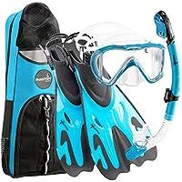 Phantom Aquatics–Legendary Deluxe Máscara Tubo Fin de buceo con snorkel gear Bolsa, agua