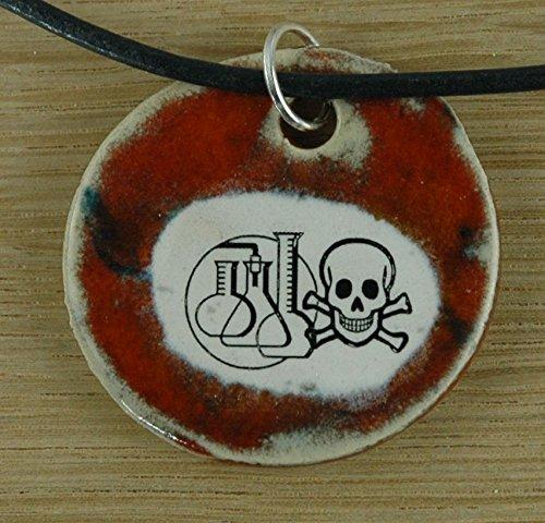 Echtes Kunsthandwerk: Hübscher Keramik Anhänger Achtung giftig! Chemie, Molekül, Element, Wasserstoff, Kohlenstoff, chemische Verbindung, Giftstoffe, Gefahr (Kohlenstoff-chemie)