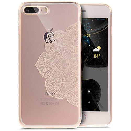 Coque iPhone 7 Plus,Étui iPhone 7 Plus,iPhone 7 Plus Case,ikasus® Coque iPhone 7 Plus Silicone Étui Housse [Conception IMD et cadre en silicone TPU] Téléphone Couverture TPU Ultra Mince Premium Semi H Fleur blanche