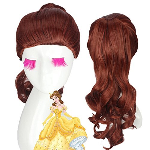 Generic Cosplay Wig by Belle Princess of Beauty and the Beast Movie Wigs Long Curly Brown by Generic