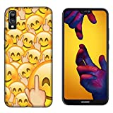 Hülle Nova 3E Case Huawei Nova 3E Whatsapp Emoticon Fuck Smiley/Cover Druck Auch an Den Seiten/Anti-Rutsch Anti-Rutsch Anti-Scratch Schock-resistenten Schutz Schutzulle Starre