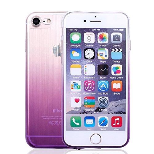 iProtect Silikon Schutzhülle Apple iPhone 7, iPhone 8 Soft case gummiert in Schwarz Hologram Lila