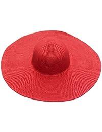 Yuncai Donna Moda Bordo Ondulato Cappello da Spiaggia Estate All aperto  Protezione Solare Paglia Cappello 34e0ba63967a