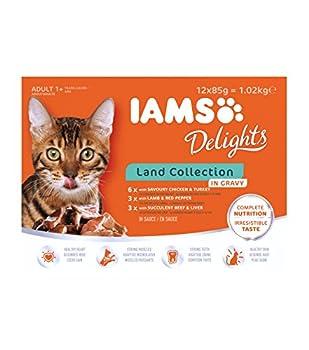 IAMS Terre Land Collection Nourriture Humide en Sauce pour Chat Adulte Toutes les Races 12 Sachets x 85 g