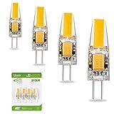 Liqoo 4er G4 LED 2W Lampe Birne, high Power COB Chip gleichmäßige Beleuchtung, 107D Kapazitanz inkl.IC, hohe CRI 83Ra, super mini Ø 9,6mm 2800K Warmweiß, 210LM Ersetzt 20W Halogenlampe AC DC 12V Abstrahlwinkel 260º